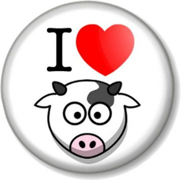 I Love / Heart COWS (face) 25mm Pin Button Badge Animals Lover Farmyard Cattle Milk Moo Fun Vegan